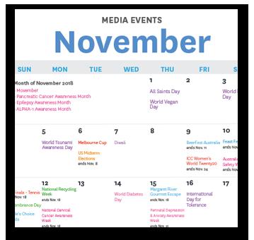 Media Events Calendar : November