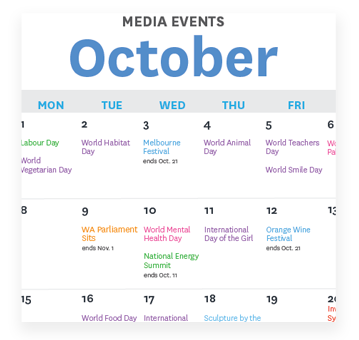 Media Events Calendar - October